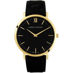 Larsson & Jennings Lugano 40mm Leather Watch - Gold/Black/Black (846.245 COP) ❤ liked on Polyvore featuring men's fashion, men's jewelry, men's watches, watches, mens leather watches and mens gold watches