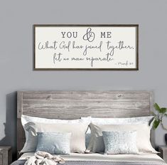Wedding Gift | You & Me Wood Sign | Bedroom Wall Decor | Scripture Wall Art | Mark 10: 9 | Anniversary Gift | Couples Gift | Farmhouse Sign
