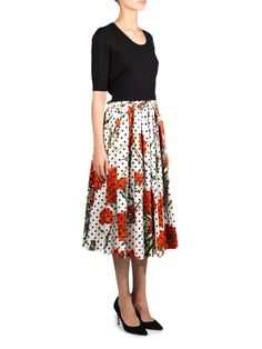 Dolce & Gabbana Carnation and polka-dot print skirt #MATCHESFASHION