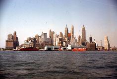 35mm Slide New York City Skyline 1960s Kodachrome View from the Hudson River