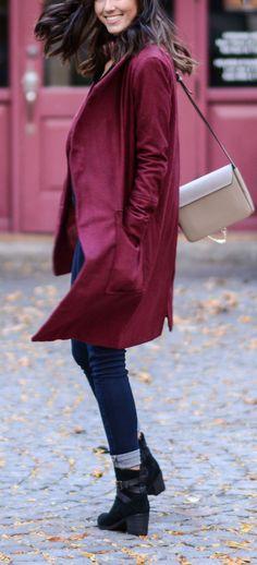 This burgundy coat i