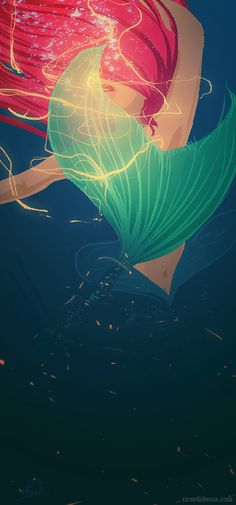 Disney princess The Little Mermaid fan art illustration Walt Disney, Disney Amor, Disney Love, Disney Magic, Ariel Disney, Mermaid Disney, Ariel Mermaid, Disney Princesses, Ariel Ariel