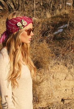 boho and hair wrap, roll pin flower bandeau