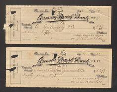 Lot of 2 1915 Receipt Lincoln Parish Bank Ruston Louisiana LA Union Woolen Mills