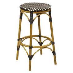 "Amazon.com: Outdoor Metal Backless Bar Stool Aluminum and Bamboo, 30""H Seat, 15-1/2""Wx15-1/2""Dx30""H: Kitchen & Dining"