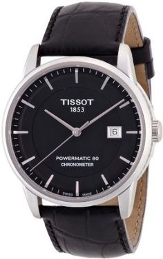 2858bee859b Tissot Luxury Automatic Black Dial Stainless Steel Black Leather Mens Watch  T0864081605100  Watches  Amazon
