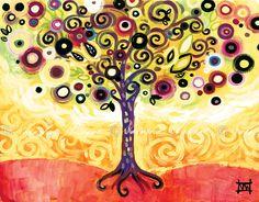 Midsummer Daydream Folk Art TREE 13x19 Fruit Life by wescoatart, $29.99