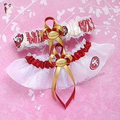 Customizable - San Francisco 49ers OOP rare fabric handmade into garters on white organza bridal prom wedding garter set with football charm - scarlet red band - Bridal garters (*Amazon Partner-Link)