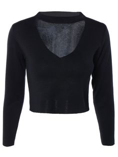 Hollow Out Long Sleeve Cropped Sweater