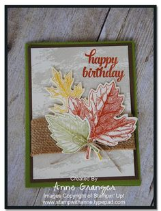 by Anne: Vintage Leaves, Tin of Cards, Watercolor Wash, Burlap Ribbon, & more - all from Stampin' Up!