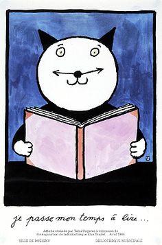 Je passe mon temps á lire: affiche réalissée par Tomi Ungerer à l'occasion de l'inaguration de la Bibliothèque Elsa Triolet [1986?]
