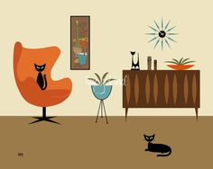 Mid Century Modern Art found this graphic artist kerry beary on etsy who does these mid