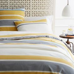 west elm offers modern bedding sets that feature comfort and style. Shop bedroom accessories, including pillows, throws, and duvet covers. Yellow Bedding, Striped Bedding, Grey Bedding, Bedding Sets, Luxury Bedding, Home Bedroom, Bedroom Decor, Master Bedroom, Bedroom Ideas