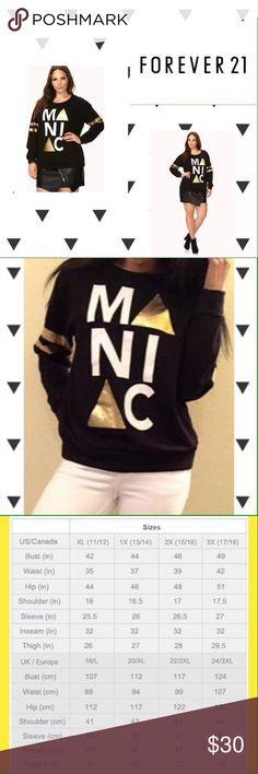 Forever 21 Maniac Sweatshirt 100% cotton. Forever 21 Tops Sweatshirts & Hoodies