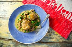 Roasted Chicken Thighs with Rosemary, Mushrooms and White Beans - Sarah Graham Food Graham Recipe, Sarah Graham, Balsamic Mushrooms, Mushroom Pork Chops, Roasted Chicken Thighs, Pork Loin Chops, Pork Dishes, Bean Recipes, White Beans
