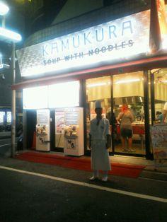 どうとんぼり神座 渋谷店 in 宇田川町, 東京都. The chefs here wear chef's hats...Thx to C.B. Cebulski's Eataku blog for the find: http://www.eataku.com/post/76225482642/kamakura-ramen-tokyo