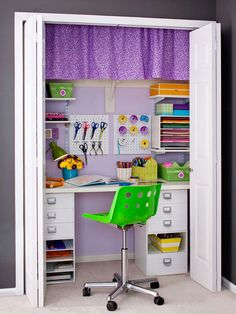 Set up your own private work space in a closet! Details here: http://www.bhg.com/decorating/closets/reach-in/clever-closets-around-the-house/?socsrc=bhgpin083115homeofficeclosetprivateworkspace&page=7