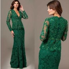 Vestidos De La Madre Sexy Deep V Neck Lace Mother Dress Green Long Sleeve Lace Mother Of The Bride Dress $142