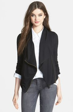 Women's Caslon Drape Neck Zip Cardigan, Size X-Large