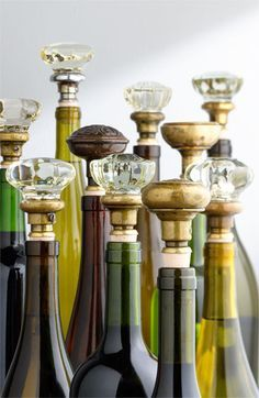 vintage door knobs as wine stoppers = genius.