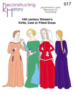 Medieval Dress Pattern | 14th century Kirtle | Cotehardie (a simple drawing. Reference for people in backgrounds, etc)