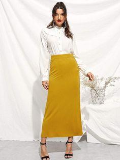 8a19b13a5f51 Elastic Waist Longline Jersey Skirt Ginger Jersey Skirt