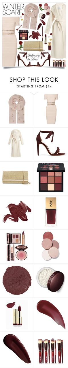 """""""Wrapper's Delight: Winter Scarf"""" by ultraviolet92 ❤ liked on Polyvore featuring Janavi, Hervé Léger, MaxMara, Alexandre Birman, Jimmy Choo, Huda Beauty, Yves Saint Laurent, Charlotte Tilbury, LunatiCK Cosmetic Labs and Marc Jacobs"""