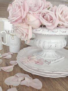 Pink roses and white china