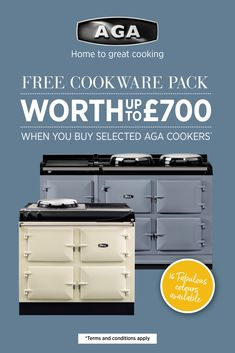 Receive an AGA cookware pack worth up to when you buy a or AGA Total Control or Dual Control cooker.
