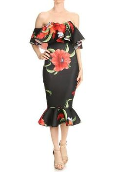 Floral Ruffle dress (Black)