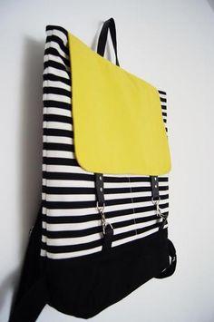 Black and white stripes + Neon Lemon Backpack By Kraftycuts Kind Und Kegel, Ankara Bags, Kids Purse, Potli Bags, Diy Bags Purses, Denim Bag, Fabric Bags, Quilted Bag, Backpack Purse