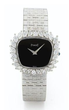 Piaget - Aᅠ LADY'Sᅠ WHITEᅠ GOLDᅠ ANDᅠ DIAMOND-SETᅠ BRACELETᅠ WATCH CIRCAᅠ 1972