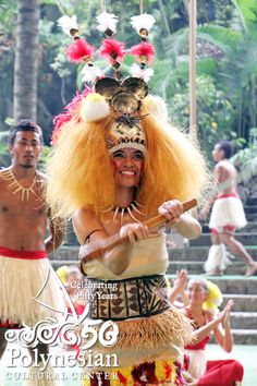 The Castle High School taupou in the We Are Samoa Festival2012 and 2013 World Fireknife Champion  Joseph Cadousteau of Papeete, Tahiti; Polynesian Cultural Center photo by Mike Foley