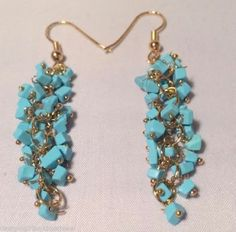 Genuine Turquoise Gemstone Nugget Chip Gold Earrings Cluster Drop Dangle 2""