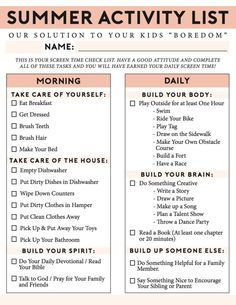 The Ultimate Summer Chores Checklist to Help Your Children Structure their Day! A Free Printable no screentime summer activity list for busting boredom, keeping the house clean and for kids to stay re List Of Activities, Summer Activities For Kids, Summer Kids, Activity List, Summer Fun List, Health Activities, Craft Activities, Toddler Activities, Outdoor Activities
