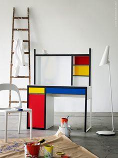 Clever Ikea hack: Mondrian-inspired Micke desk (cute in a kid's room)