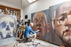 """Richard McWhannell - paints from life, no preparation. Focuses on portraiture 'Several Centuries of portraiture. It's a serious art form as far as I'm concerned. And what are we most interested in? Our own species."""" Artist at Work New Zealand Art, Nz Art, Penguin Books, Artist At Work, Art Forms, Contemporary, Painting, Figurative, Studios"""