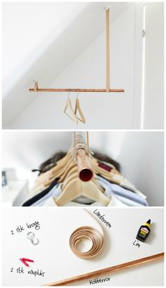 DIY garment rack on a sloped ceiling