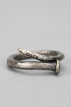 Urban Outfitters - OBEY Craftsmen Ring from Urban Outfitters. Saved to Rings. Jewelry Box, Jewelry Rings, Silver Jewelry, Jewelry Accessories, Silver Rings, Jewelry Making, Jewellery, Diy Jewelry, Male Jewelry