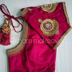 Saree Jacket Designs, Fancy Blouse Designs, Bridal Blouse Designs, Blouse Neck Designs, South Indian Blouse Designs, Mirror Work Blouse Design, Churidar Designs, Ganesha Rangoli, Golden Blouse