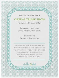 Tomorrow I'm having a Stella Dot Virtual Trunk show on my blog! I'll be showing my favorite pieces and how to style them! www.framedfrosting.com