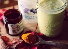 Probiotic-enhanced creamy vegan Turmeric Milk made with Dastony stone ground whole coconut butter