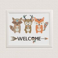 Baby+Cross+Stitch+pattern+animals+fox+deer+by+AnimalsCrossStitch
