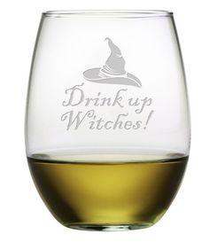 Drink Up Witches Stemless Wine Glasses ~ Set of 4