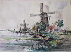 Clement van Vlaardingen 1916-1972 'Dutch Landscape' Techniek: aquarel