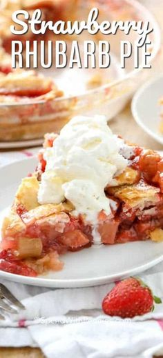 Strawberry Rhubarb Pie – Spend With Pennies This strawberry rhubarb pie recipe is just like grandma used to make! It is perfect served with a scoop of vanilla ice cream! Sweet Desserts, Easy Desserts, Delicious Desserts, Strawberry Rhubarb Pie, Strawberry Recipes, Pie Dessert, Dessert Recipes, Easy Pie Recipes, Rhubarb Recipes