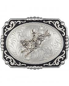 Montana Silversmiths Painted Cowboy Cameo with Bull Rider Buckle