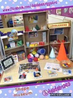 3D shape museum! Shape Activities Kindergarten, 3d Shapes Activities, Kindergarten Lessons, Classroom Activities, Maths Eyfs, Eyfs Classroom, Maths Display, Maths Area, Math Challenge