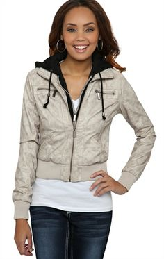 Deb Shops #Bomber #Jacket with Knit Hood $27.93