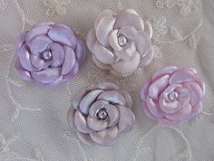 12 pc Hand Dyed Christening Baby Doll Satin Ribbon Pearl Embellished Flowers Bridal Hair Accessory Bow on Etsy, $5.85